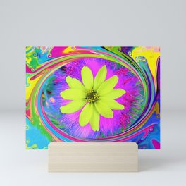 Psychedelic Yellow Zinnia on a Groovy Twirl Mini Art Print