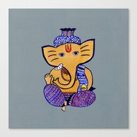 ganesha Canvas Prints featuring Ganesha by Vanya