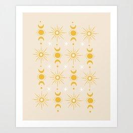 Yellow Sun & Moon Pattern Art Print