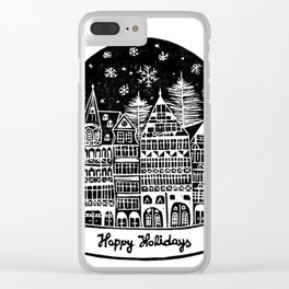 Linocut Holidays Clear iPhone Case