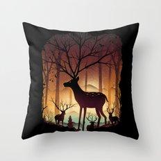 Into Deer Woods Throw Pillow