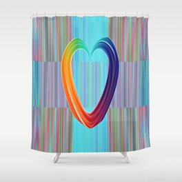 Fractal Art- Pattern Art- Heart Art- Blue Hearts-Pixxie Stixx- LGBT Art- Love- Healing Energy Art Shower Curtain