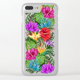 Tropical Flora Summer Mood Pattern Clear iPhone Case