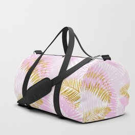 Aloha- Pink Tropical Palm Leaves and Gold Metal Foil Leaf Garden Duffle Bag