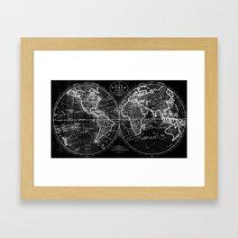 Black and White World Map (1795) Inverse Framed Art Print