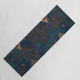 Rose gold and cobalt blue antique world map with sail ships Yoga Mat