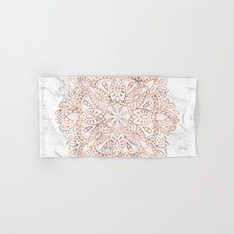 Rose Gold Mandala on Marble Hand & Bath Towel