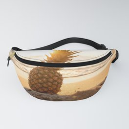 pineapple on a sandy beach in sunset- vacation photography Fanny Pack