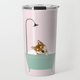 Shiba Inu Enjoying Bubble Bath Travel Mug