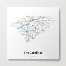 Highways of the USA – The Carolinas Metal Print