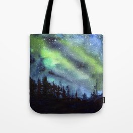 Galaxy Nebula Watercolor Northern Lights Aurora Borealis Tote Bag
