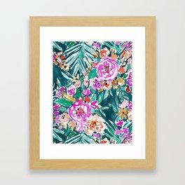 TROPICAL FEELS Begonia Palm Watercolor Pattern Framed Art Print
