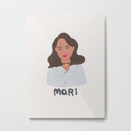 I am MARI, girly illustration, portrait, girl art print Metal Print