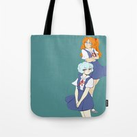 evangelion Tote Bags featuring Evangelion Girls by treasurefish