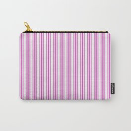 Trendy Large Pink Fuchsia Pastel Pink French Mattress Ticking Double Stripes Carry-All Pouch