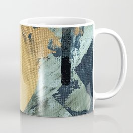 Supernova: an abstract mixed media piece in gold with blues, greens, and a hint of pink Coffee Mug