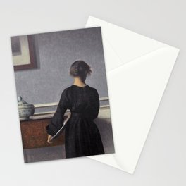Vilhelm Hammershoi - Interieur Mit Rueckenansicht Einer Frau - Digital Remastered Edition Stationery Cards