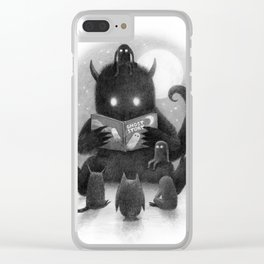 Story Time (black and white option) Clear iPhone Case