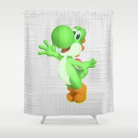 yoshi Shower Curtains featuring Yoshi by Jessica Wray