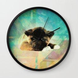 American Akita Puppy Wall Clock
