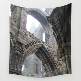 Whitby Abbey in Fog #2 Wall Tapestry
