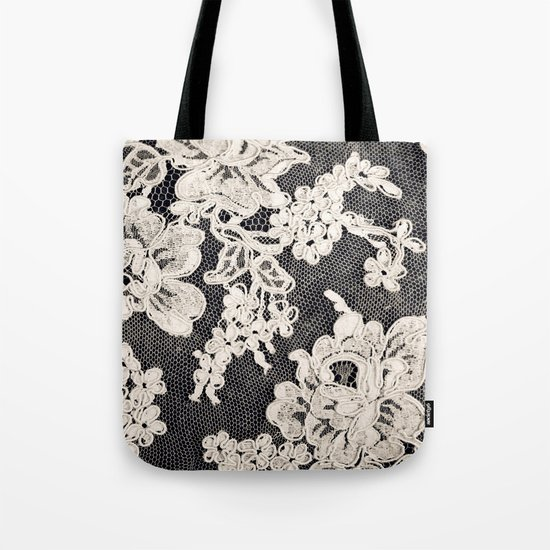 black and white lace- Photograph of vintage lace Tote Bag