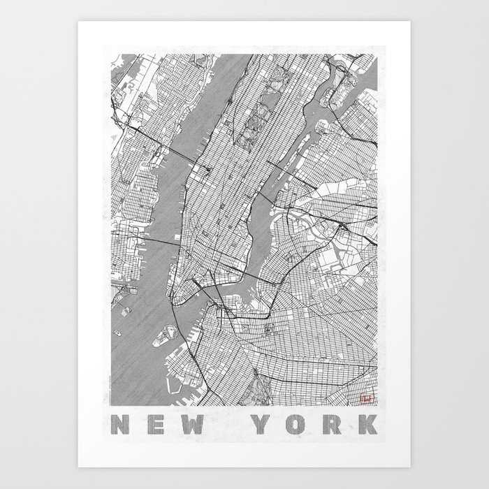 Line Art New York : New york map line art print by hubertroguski society