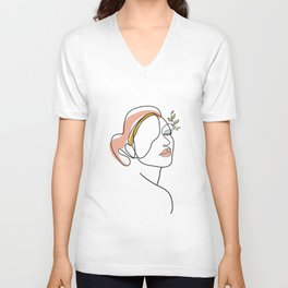Female Face Line Art Unisex V-Neck
