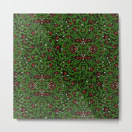 Red Flowers with Green and White Leaves Metal Print