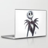 jack skellington Laptop & iPad Skins featuring Jack Skellington scribble by Patricia Pedroso