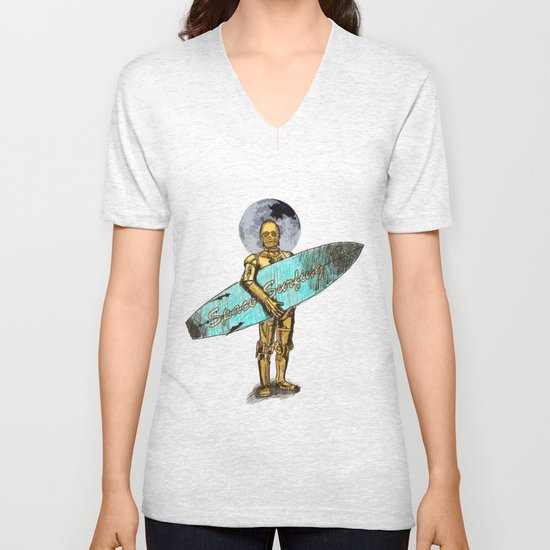 Space Surfer Unisex V-Neck
