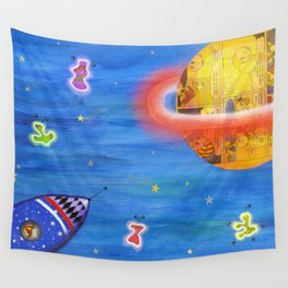 Space Rocket Planet Aliens and Shooting Stars Wall Tapestry