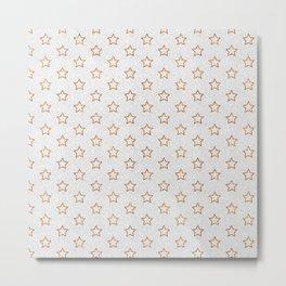 Chic white faux gold glitter modern stars pattern Metal Print
