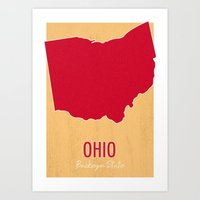 ohio state Art Prints featuring Ohio State Map - Buckeye State by finally sunshine