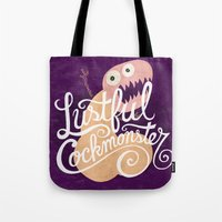 nfl Tote Bags featuring Lustful Cockmonster by Chris Piascik