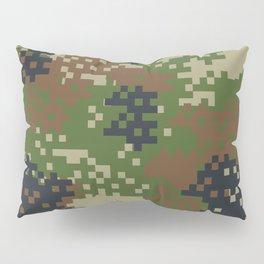 Pixel Woodland Camo Camouflage Pattern Pillow Sham