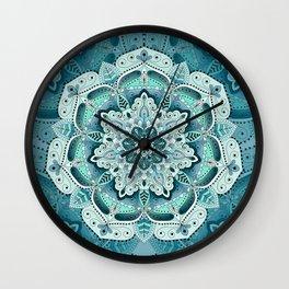 Winter blue floral mandala Wall Clock