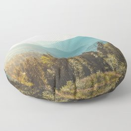 Peaceful landscape panoramic view. Mountain and blue sky background.  Floor Pillow