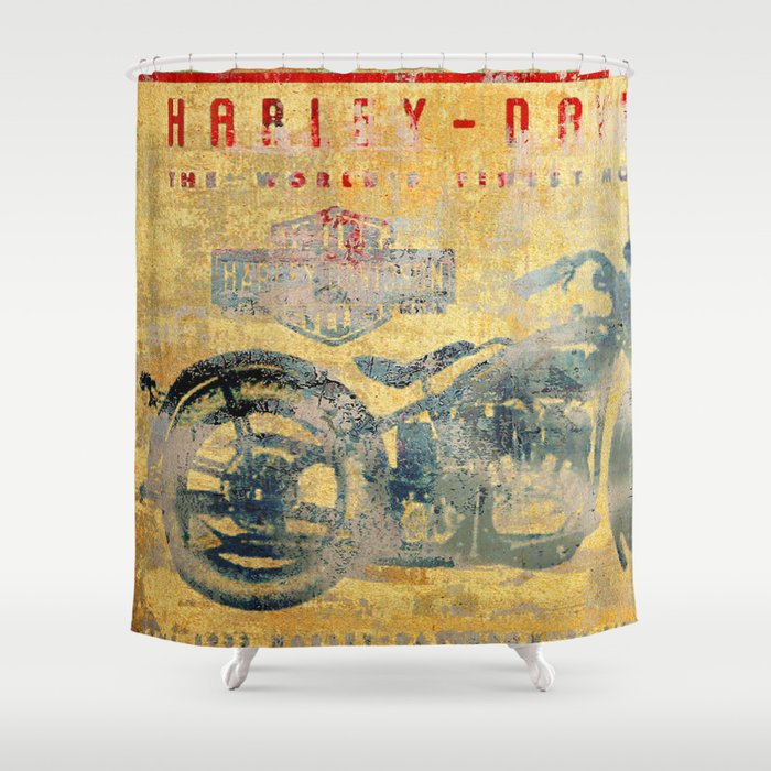 HD   Vintage Motorcycle Shower Curtain