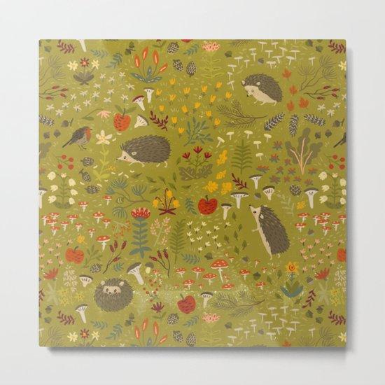 Hedgehog Meadow Metal Print