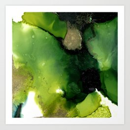 Alcohol Inks - Abstract Green Art Print