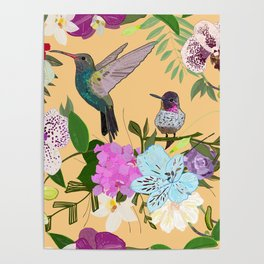 Orchid, Alstroemerias and Cute Humming Birds Pattern Poster
