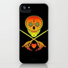 Neon Sugar Skull Drummer. iPhone Case
