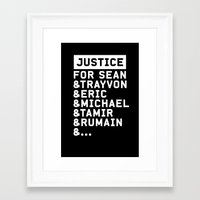 justice Framed Art Prints featuring Justice by YEAH PRETTY MUCH