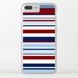 Nautical Stripes - Blue Red White Clear iPhone Case