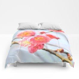 Delicate Pink & Yellow Flowers Comforters