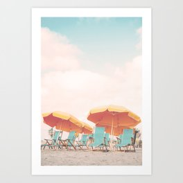 Beach Chairs and Umbrellas Art Print