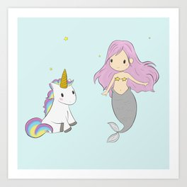 Unicorn and mermaid Art Print
