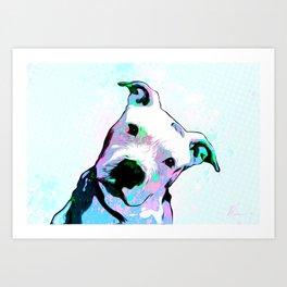 Pit bull - Puzzled - Pop Art Art Print