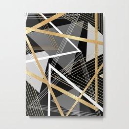 Original Gray and Gold Abstract Geometric Metal Print
